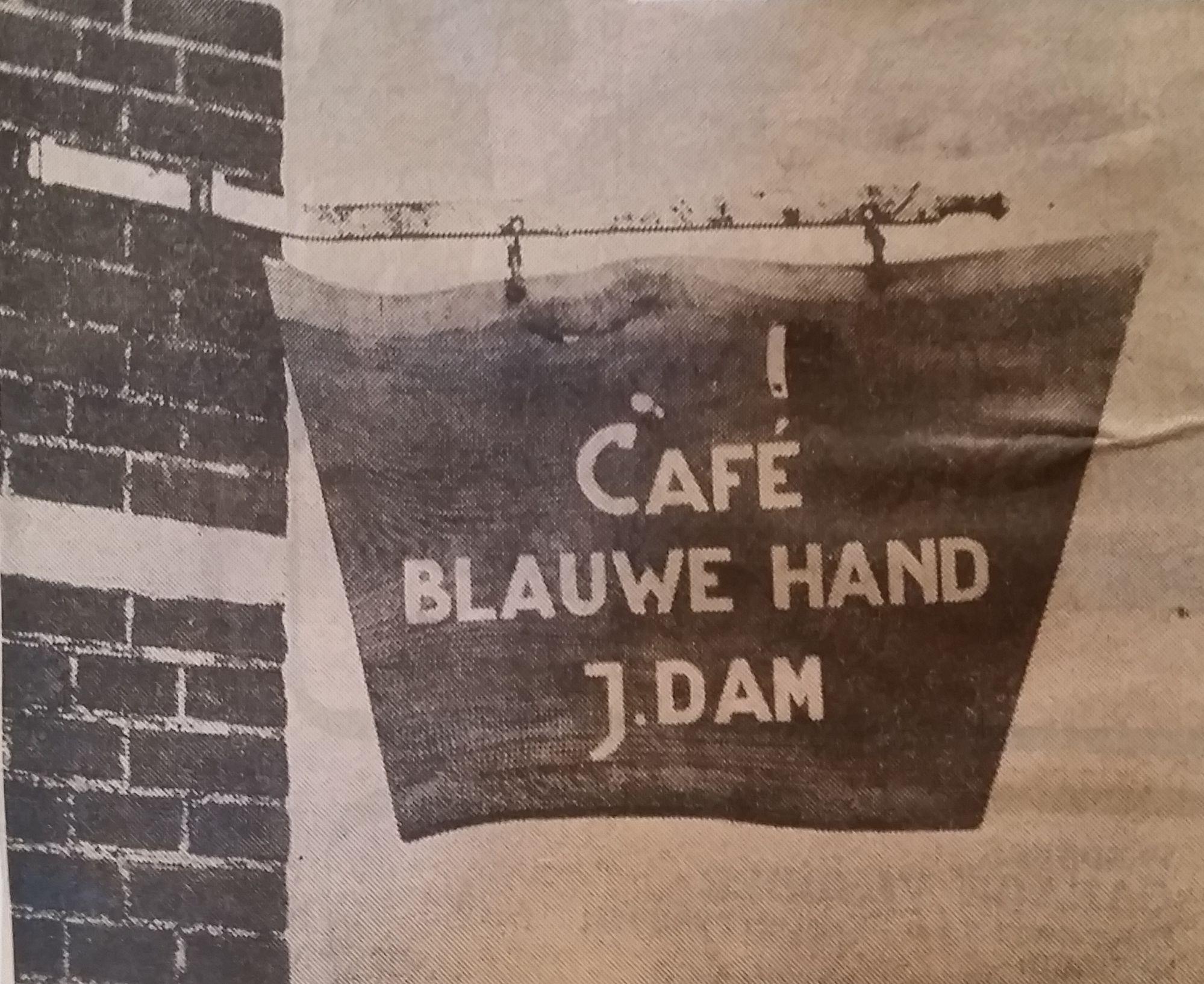 cafe blauwe hand